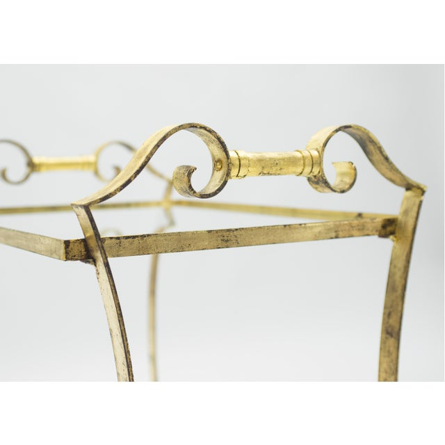 Gold French Neoclassical Maison Ramsay Gilded Iron Bar Cart 1940s For Sale - Image 8 of 12