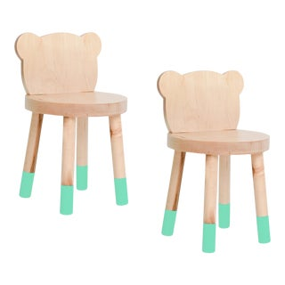 Nico & Yeye Baba Kids Chair Solid Maple Mint - Set of 2 For Sale