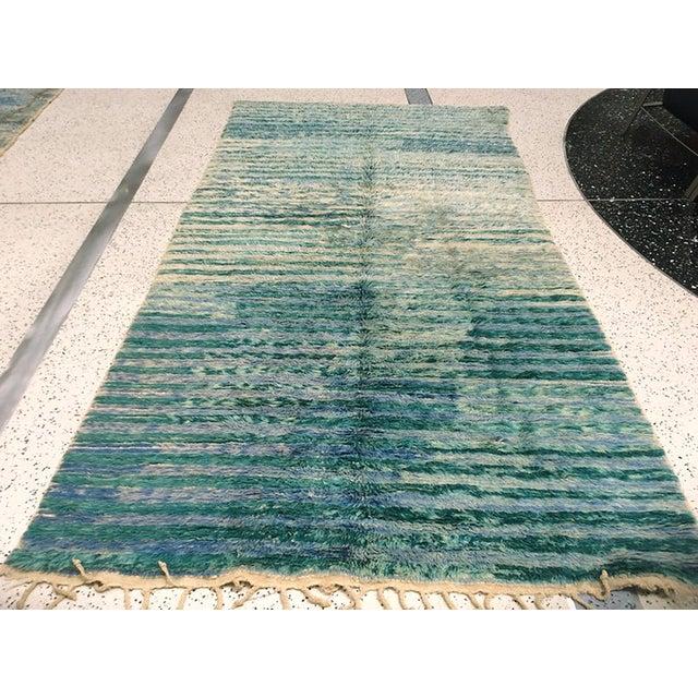 "Islamic Vintage Moroccan Aqua Berber Rug -- 5'2"" x 10'11"" For Sale - Image 3 of 9"