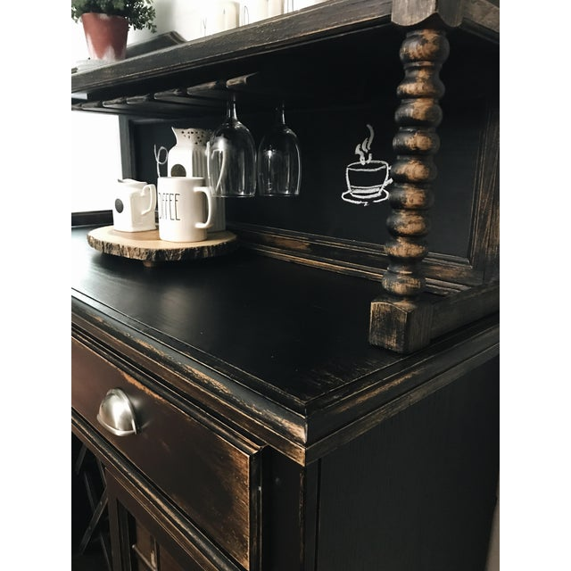 Boho Chic Black Distressed Bistro Coffee Bar Hutch Cabinet For Sale - Image 3 of 11
