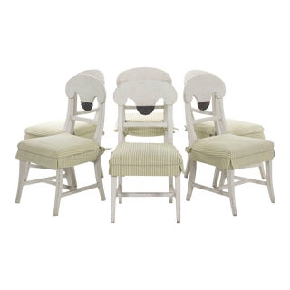 Swedish Gustavian Style White Fan Carved Dining Chairs - Set of 6 For Sale