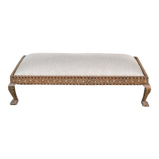 Vintage Anglo-Indian Bone Inlay Upholstered Ottoman For Sale