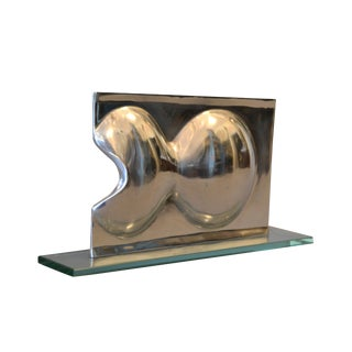 Abstract Chrome and Glass Table Sculpture For Sale