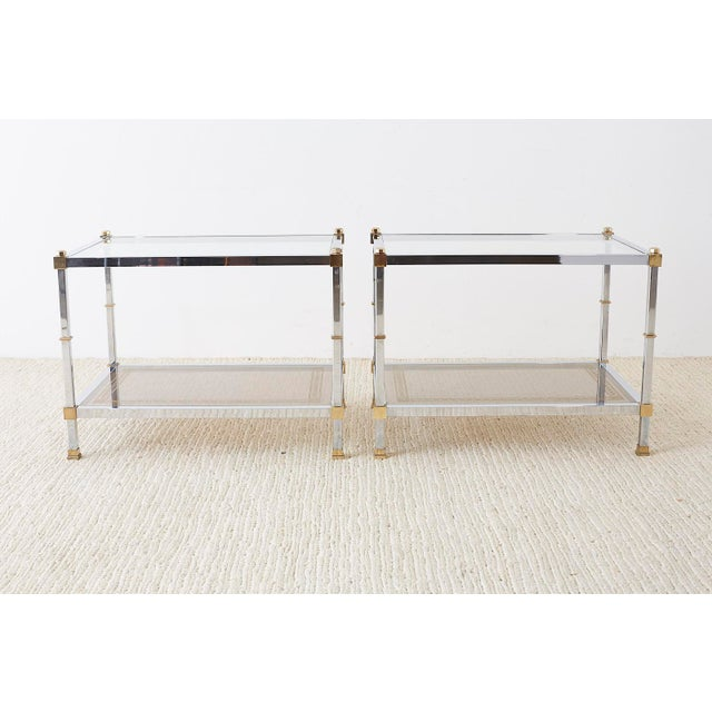 Mid 20th Century Pair of Maison Jansen Style Chrome and Brass Tables For Sale - Image 5 of 13