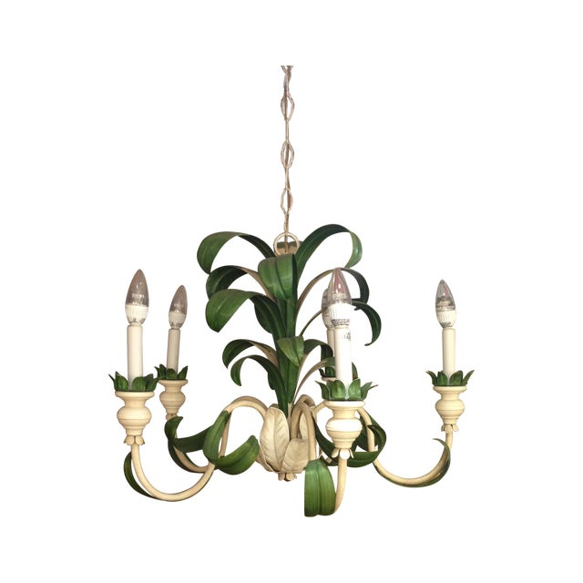 Hand Painted Green French Reproduction Chandelier - Image 1 of 9