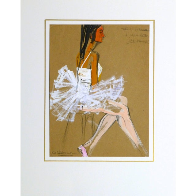 G. Lahousse, Vintage French Gouache - Ballerina in White For Sale - Image 4 of 5