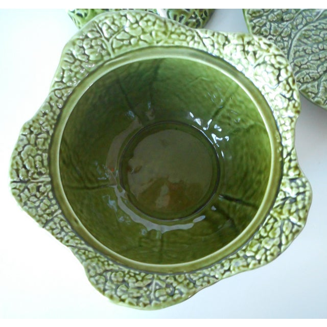 Green Vintage Majolica Green Cabbage Soup Tureen & Underplate For Sale - Image 8 of 9