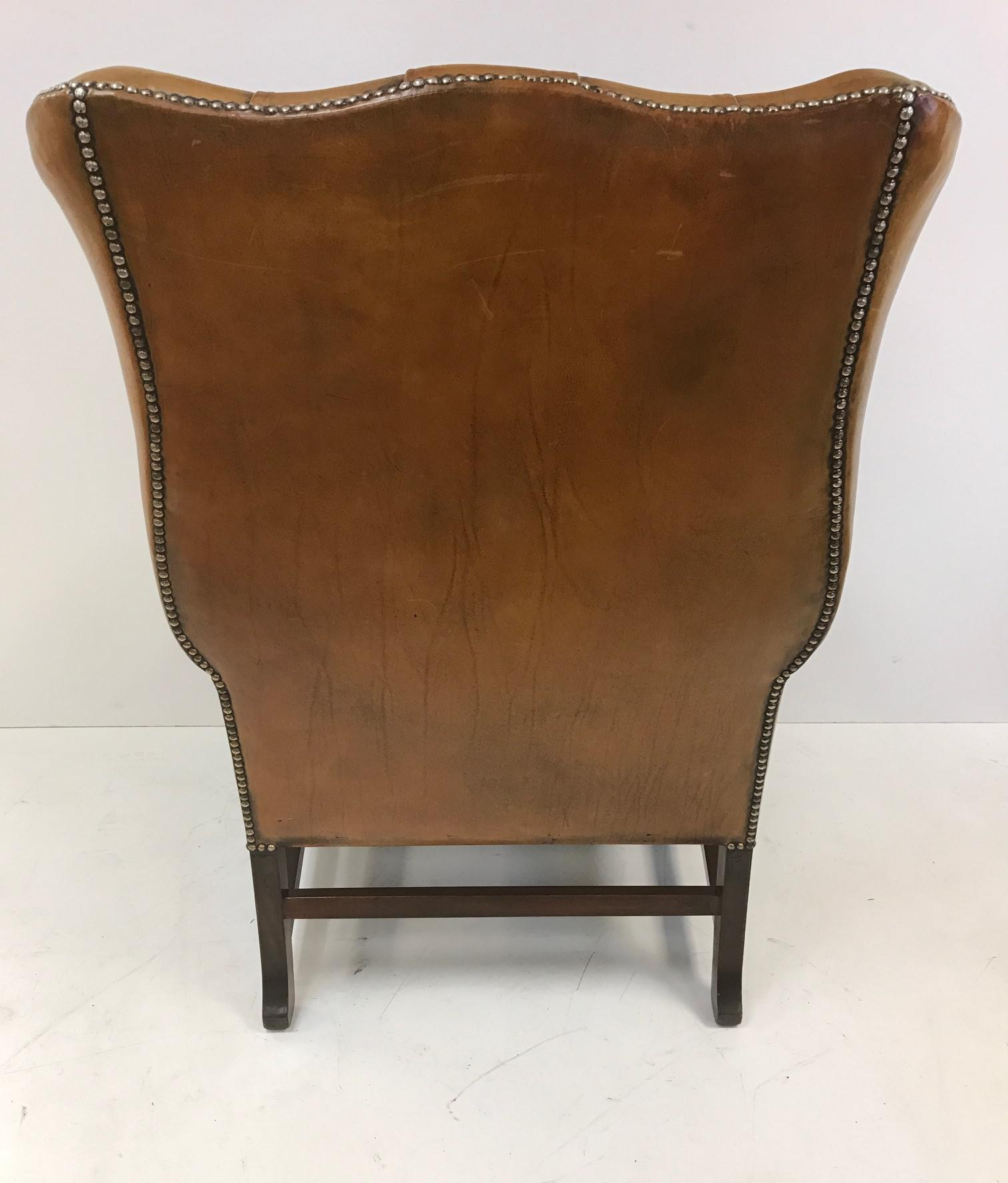 Vintage Leather Tufted Wingback Library Chair   Image 5 Of 8