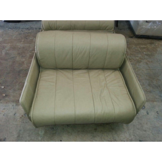 """De Sede Pair of De Sede of Switzerland """"1986"""" Oversized Modern Leather Chairs For Sale - Image 4 of 13"""