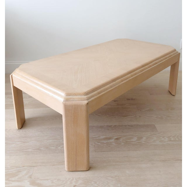 1980s Modern Tiered White-Washed Solid Wood Coffee Table For Sale - Image 4 of 10