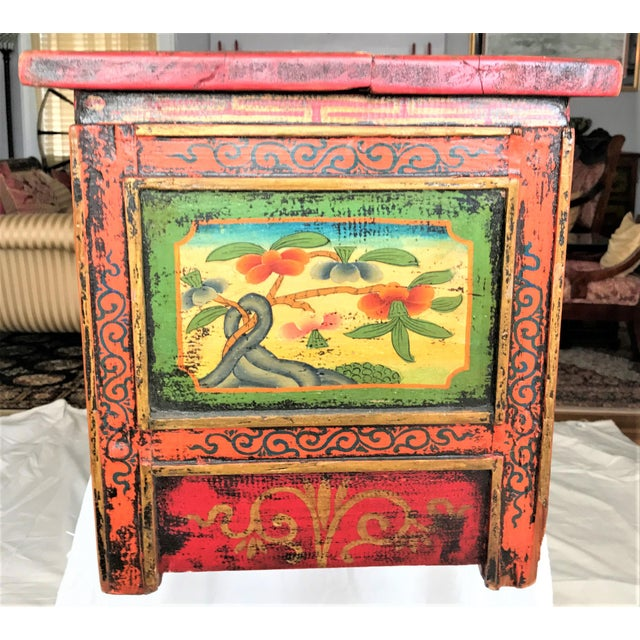Antique Hand Painted Tibetan Chest For Sale - Image 6 of 10