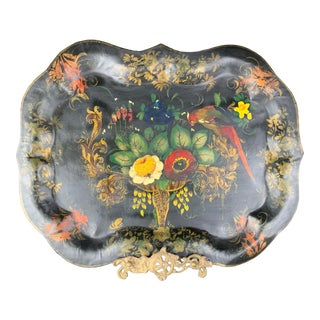 Vintage English Hand Painted Flowers and Birds Tole Tray For Sale
