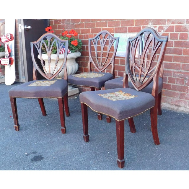 Set 4 1940s Mahogany Shield Back Sheraton Needlepoint Dining Room Chairs As Is