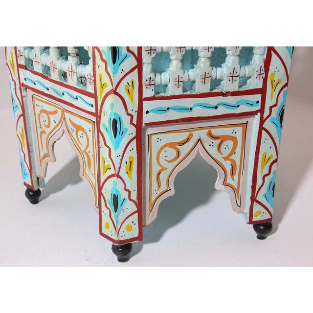 Pair of Moroccan handcrafted and hand painted tabourets or side tables. Moucharabie fret work octagonal stools with...