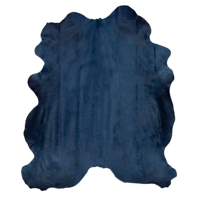 Navy Blue Cow Hide Rug - 7′ × 8′ For Sale