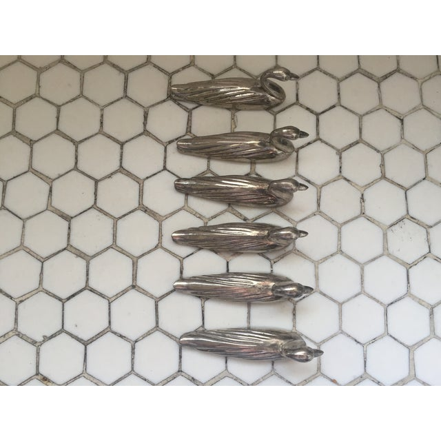 Mid-Century English Silver Swans Knife Rests - 6 For Sale - Image 10 of 10
