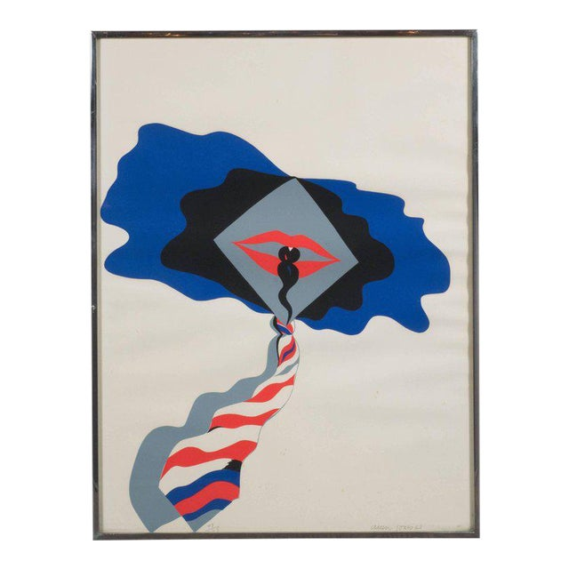 Mid-Century Modern Pop Art Print by Allen Jones in Black & Electric Blue/Red - Image 1 of 10