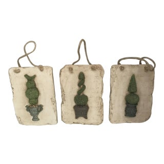 Set of 3 Decorative Topiary Wall Tiles For Sale