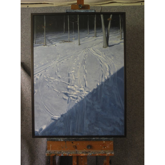 Snowy Back Yard in Winter Original Painting - Image 2 of 7