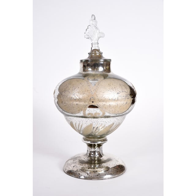 Silver Mercury Glass Covered Decorative Vase For Sale - Image 8 of 9