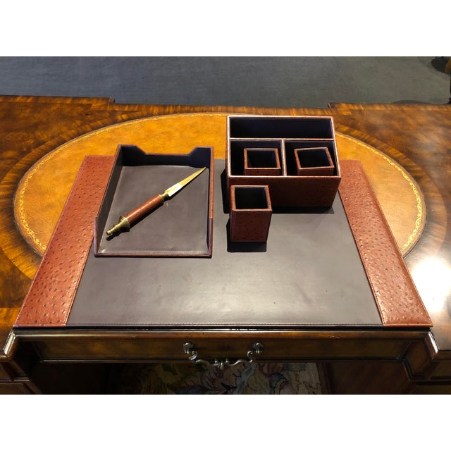 Faux Ostrich Leather Desk Set Including Letter Opener There Are 7 Items In This