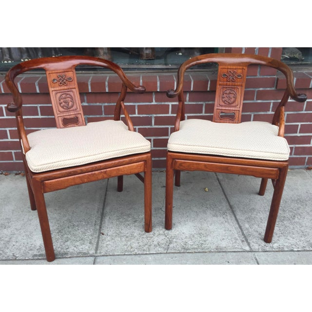 Rosewood Chinese Rosewood Horshoe Chairs a Pair For Sale - Image 7 of 7