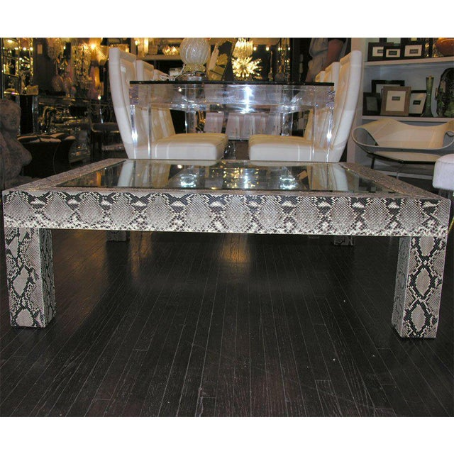 Venfield Python Cocktail Table with Inset Glass Top For Sale - Image 4 of 6