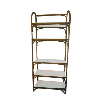 Vintage Chippendale Style 5 Tier Bentwood Rattan Etageres - a Pair Preview