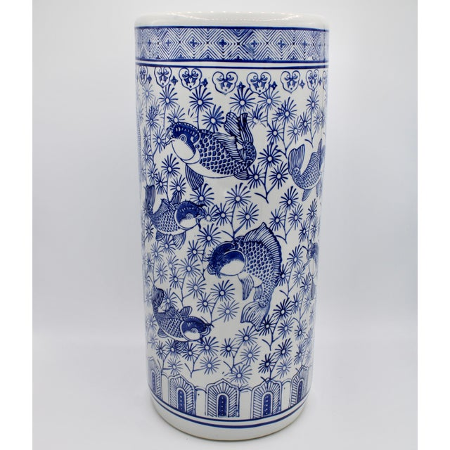 Vintage Blue and White Chinese Porcelain Umbrella Stand For Sale - Image 13 of 13