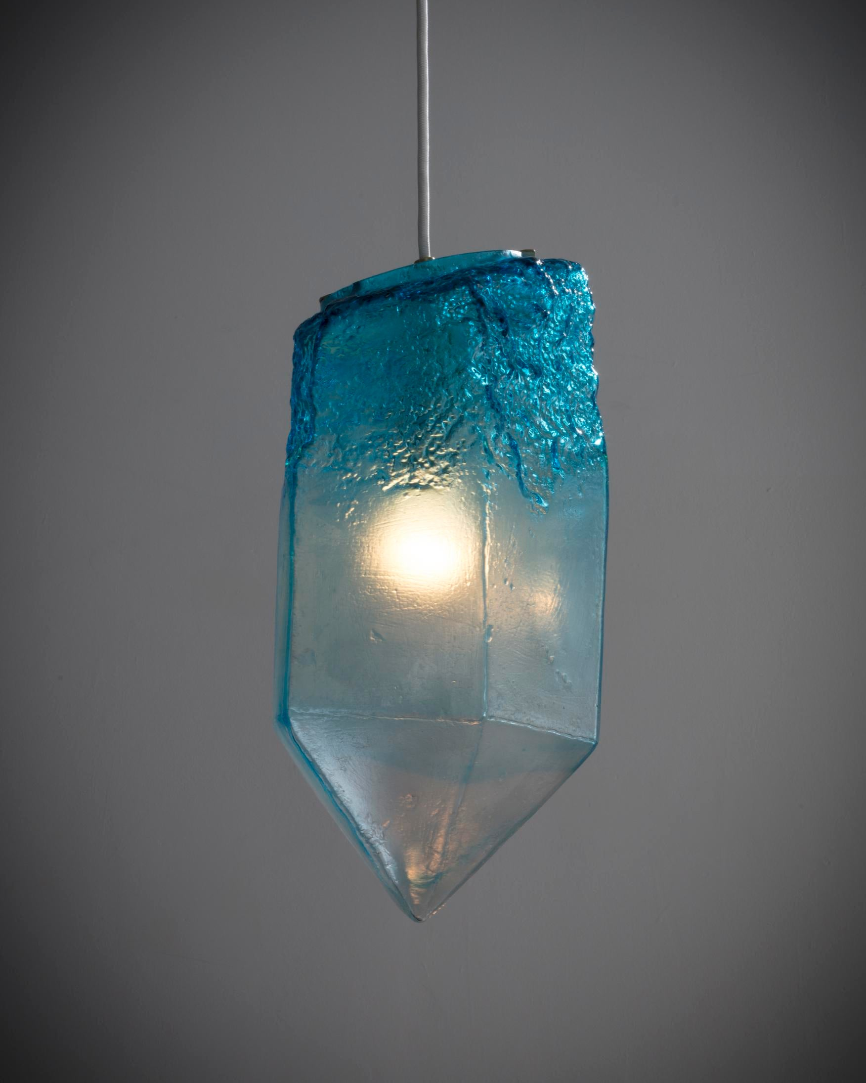 Zimmerman lighting Lighting Design Contemporary Illuminated Handblown Turquoise Glass Crystal Pendant By Jeff Zimmerman For Sale Image Decaso Highend Illuminated Handblown Turquoise Glass Crystal Pendant By