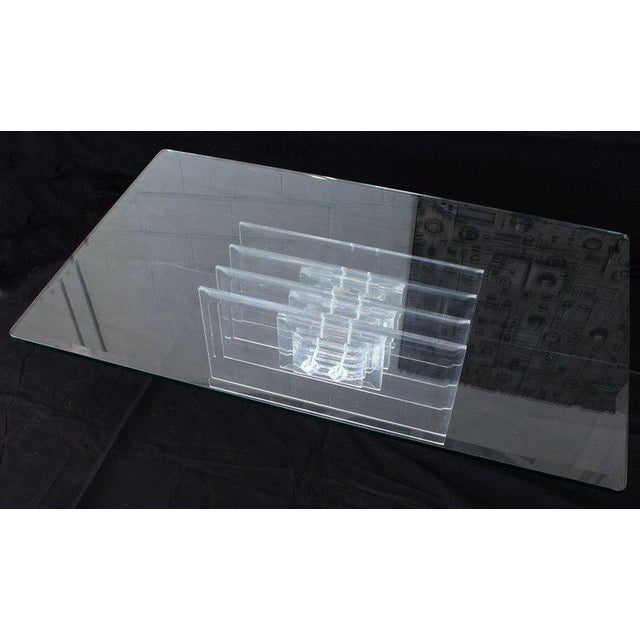 1970s Large Rectangular Glass Top Thick Stack Lucite Blades Base Coffee Table For Sale - Image 5 of 12