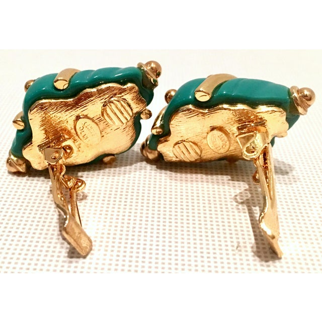 20th Century Kenneth J Lane Gold & Enamel Snail Form Earrings For Sale - Image 9 of 11