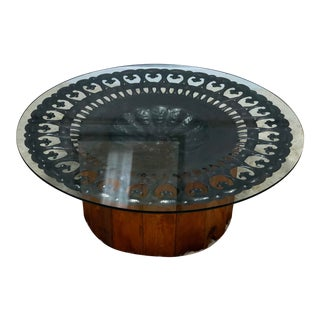 Vintage Round Glass Coffee Table With Metal Decoration For Sale