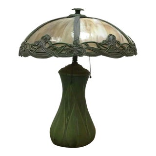 Antique American Craftsman Green-Glazed Pottery Table Lamp For Sale
