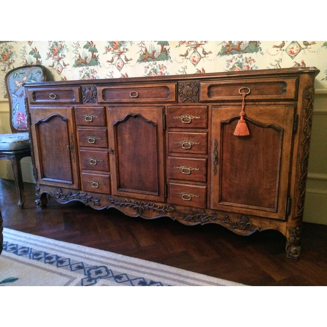Gorgeous walnut sideboard buffet in French provincial styling. Mount Airy Furniture Co. Walnut with oak secondary woods...