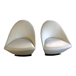 21st Century Vintage C&b Italia Gurian White Leather Italian Living Room Chairs - A Pair For Sale