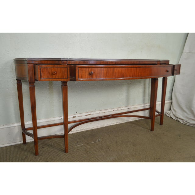 Regency Style 1930s Inlaid Satin Wood Console Sideboard For Sale - Image 11 of 13