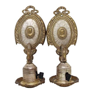 Silver Plated Brass Victorian Sconces - A Pair For Sale