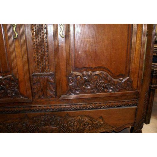 French 19th Century Carved Oak Marriage Armoire For Sale - Image 3 of 7