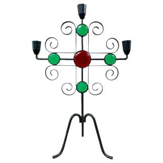 Wrought Iron and Glass Candelabra by Gunnar Ander for Ystad-Metall For Sale