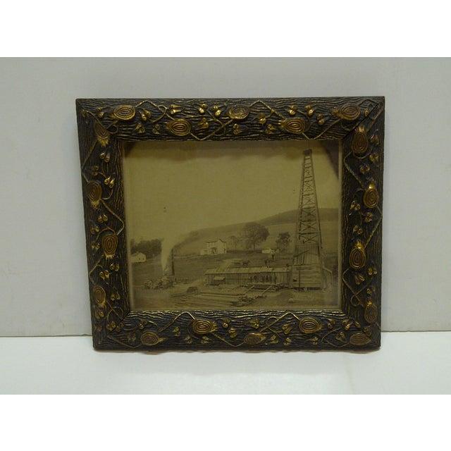 """Vintage Framed Black & White Photograph """"Old Oil Rig"""", 1880 For Sale - Image 5 of 5"""