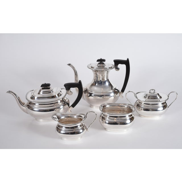 Hollywood Regency Vintage English Sheffield Sterling Silver Tea / Coffee Service - 5 Pc. Set For Sale - Image 3 of 13