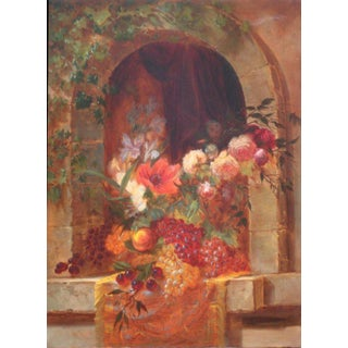 Still Life of Fruit and Flowers Oil Painting signed by Orren C. Richards For Sale
