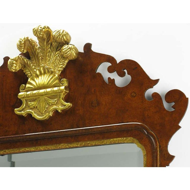1960s Chippendale Mirror in Burled Walnut with Gilt Plume Surmounter by Williamsburg Restorations Inc. For Sale - Image 5 of 8