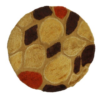 Vintage Mid-Century Continental Golden Yellow Wool Circle Rug- 4′ × 4′ For Sale