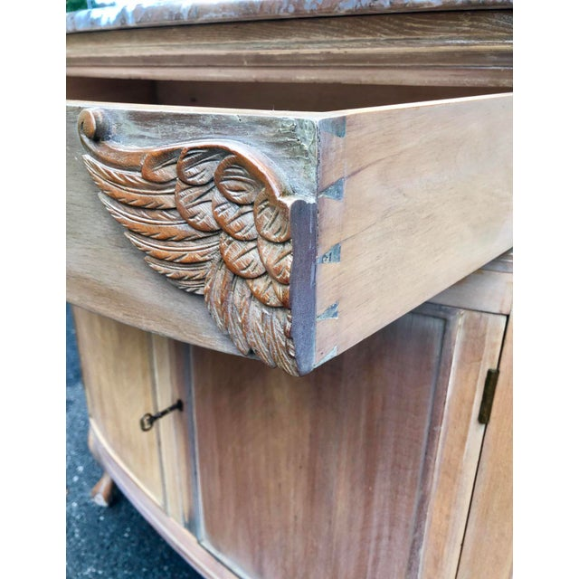 Wood 1940s Gustavian Limed Oak Marble Top Sideboard For Sale - Image 7 of 13
