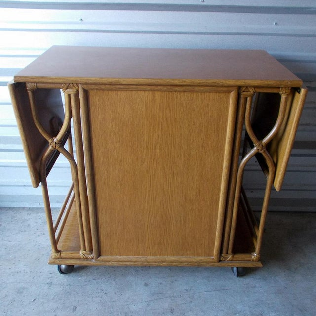 Late 20th Century Vintage McGuire Rattan Drop Leaf Dry Bar/Bar Cart For Sale - Image 5 of 10