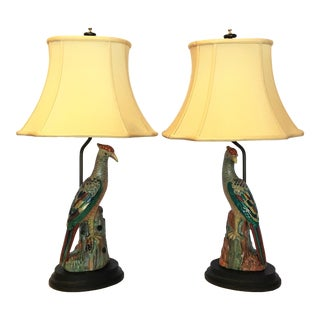 Hand Painted Peacock Lamps - a Pair For Sale