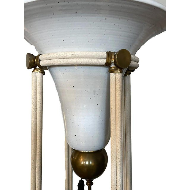 Pair of Mid-Century Modern Bronze Floor Torchiere Lamps With Porcelain Globes For Sale - Image 11 of 12