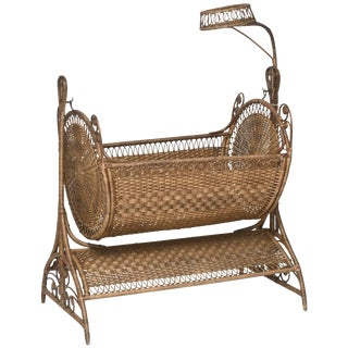 19th Century Victorian Wicker Swinging Baby Cradle